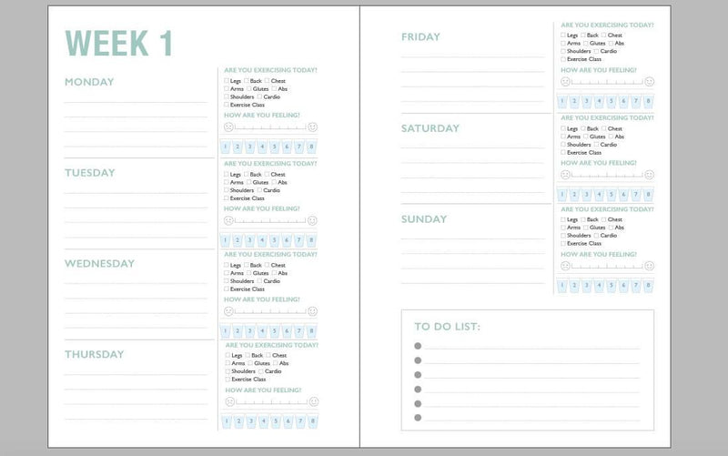 My Fitness Journal in Mint + My Exercise Pad Set