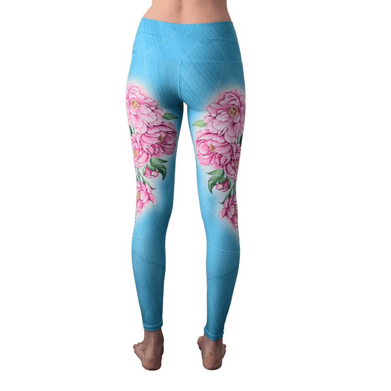 Peonies High Waisted Eco Leggings by Yogacycled at Life By Equipe