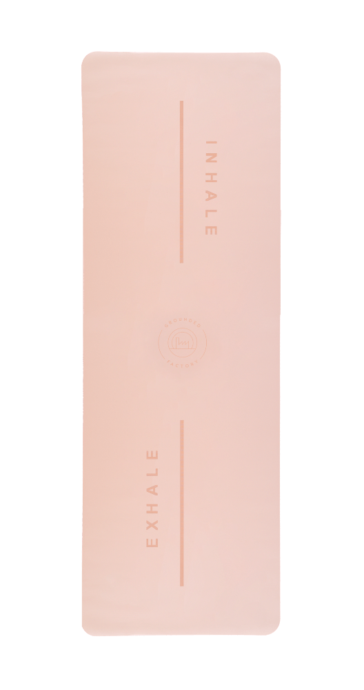 Inhale Exhale Super Grip Yoga Mat in Pink - Grounded Factory