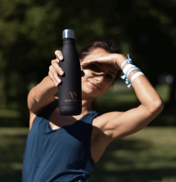 Black Reusable Water Bottle Perky Peach