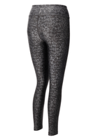 Breaking Glass Black and Silver High Waisted Animal Print Yoga Leggings by Blossom Yoga Wear
