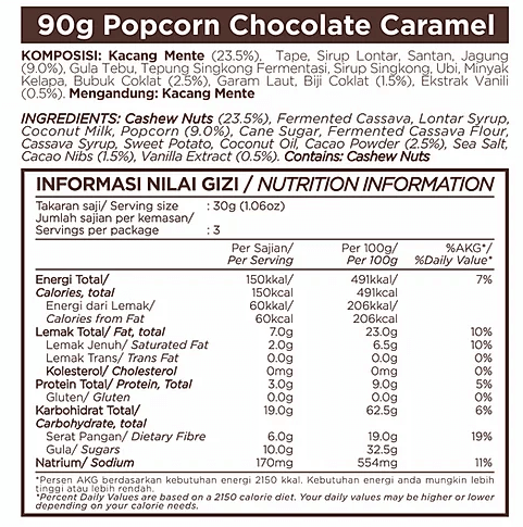 Chocolate Caramel Popcorn With Cashews Case Of 10 by East Bali Cashews