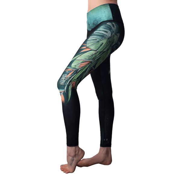 Strelitzia Bird Of Paradise Flower High Waisted Eco Leggings by Yogacycled at Life By Equipe