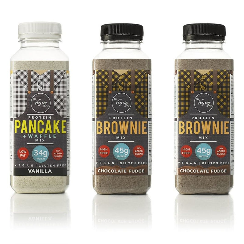 1x Vanilla + 2x Brownie Vegan Protein Pancake, Waffle and Brownie Mix Bundle