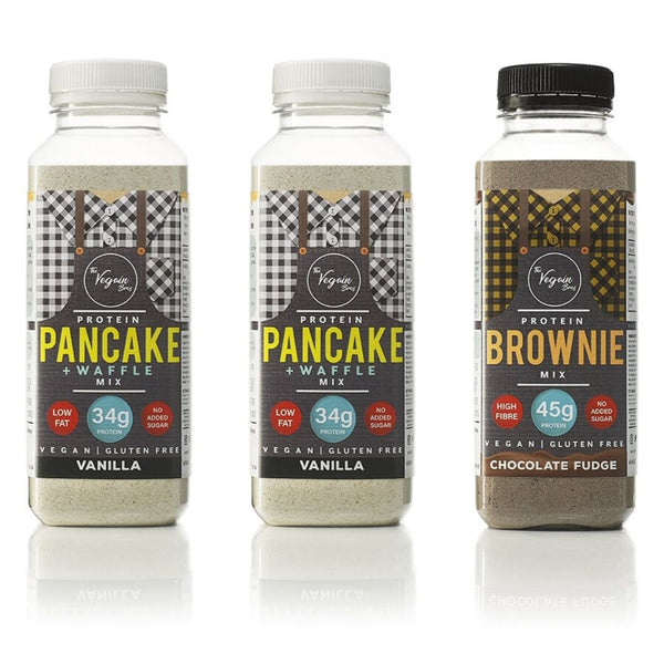2x Vanilla + 1x Brownie Vegan Protein Pancake, Waffle and Brownie Mix Bundle