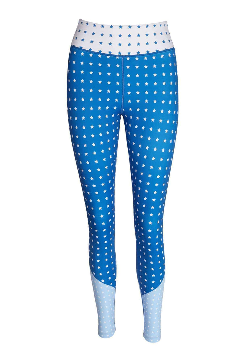 Blossom Yoga Wear Leggings  Blue Stardust Blue Star High Waisted Yoga Leggings