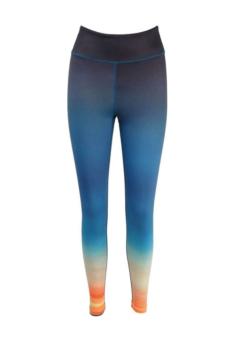 Blossom Yoga Wear Leggings Ombre Dusk Til Dawn Print High Waisted Yoga Leggings