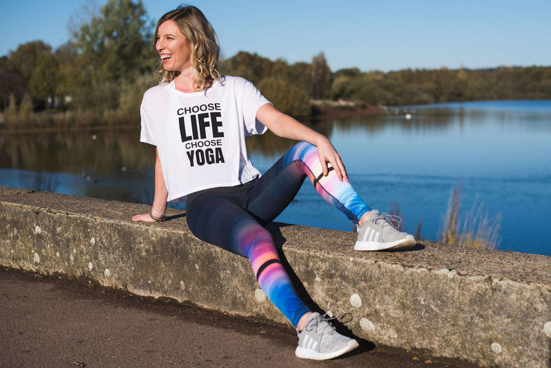 Blossom Yoga Wear Tops Choose Life Choose Yoga Cropped Boxy Slogan Tee