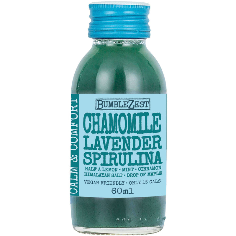 Calm & Comfort Vegan Health Shots - Case of 20 Bottles Chamomile Lavender & Spirulina , Drinks  - Life By Equipe