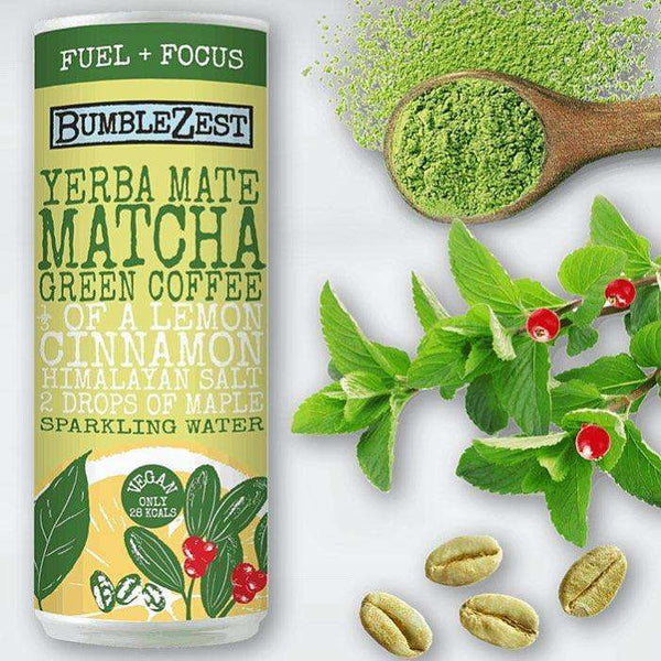 Fuel & Focus Sparkling Yerba Mate, Matcha & Green Coffee Bean - Case of 24 Cans , Drinks  - Life By Equipe