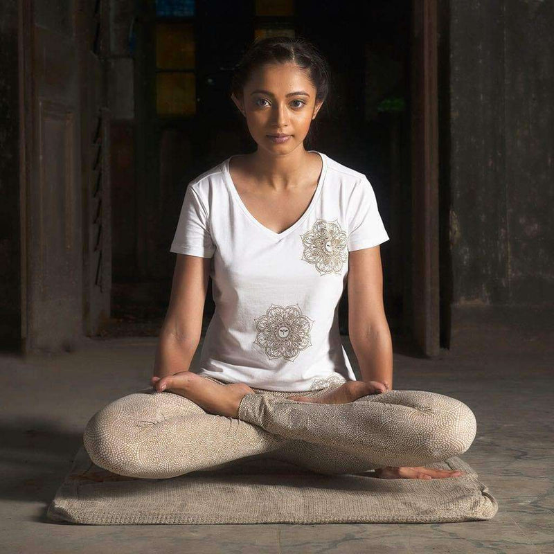 Indian Motif Tee in White , Tops  - Life By Equipe