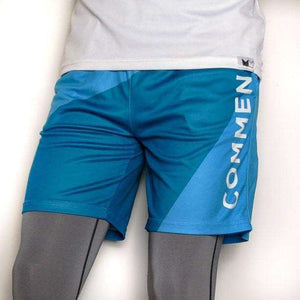 Commen Athletics Bottoms / Blue Geometric Run Shorts