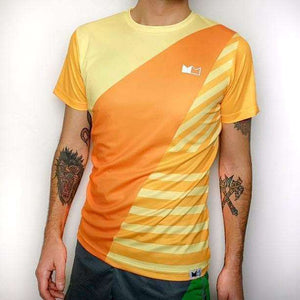 Commen Athletics Tops S / Orange Geometrics Run Tee