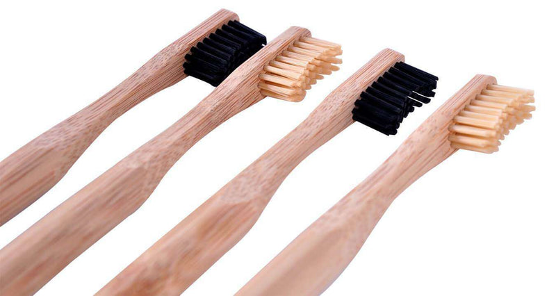 F.E.T.E Toothbrushes 4 Plastic Free Bamboo and Charcoal Toothbrushes with Medium Softness Bristles