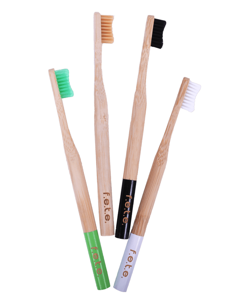 4 Plastic Free Bamboo Multicoloured Toothbrushes with Firm Bristles by F.E.T.E