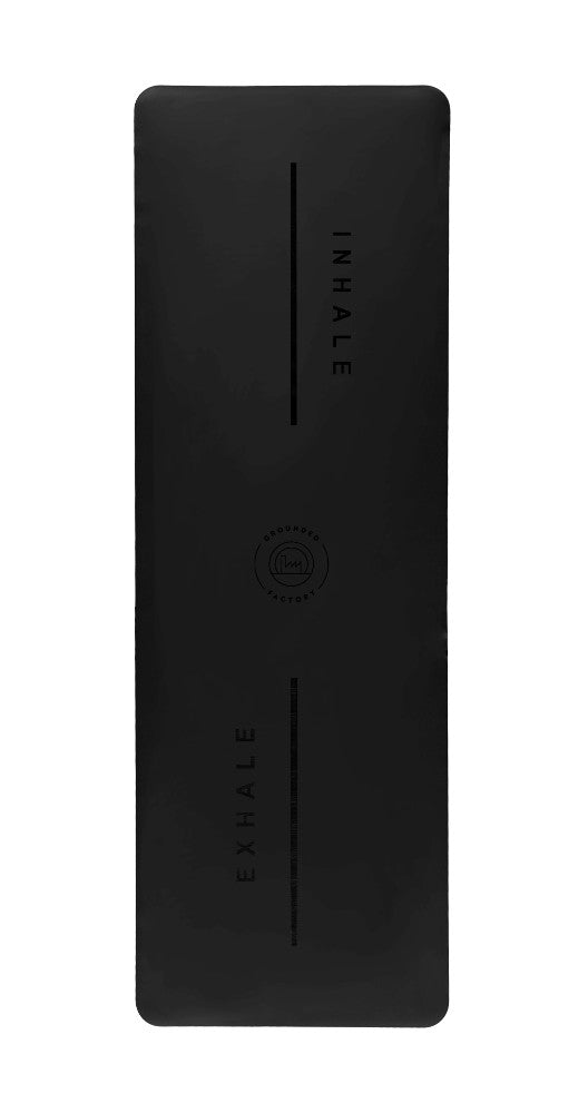 Inhale Exhale Super Grip Yoga Mat in Black - Grounded Factory