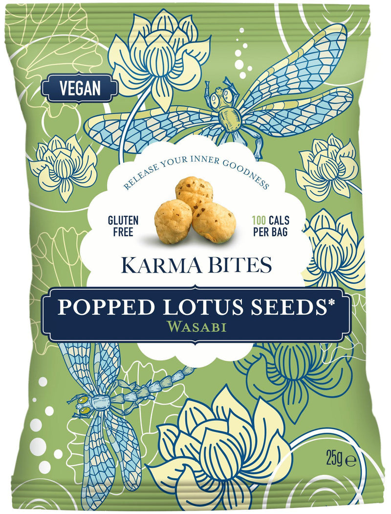 Karma Bites Popped Lotus Seeds Wasabi Popped Lotus Seeds Snacks 9x Multipack