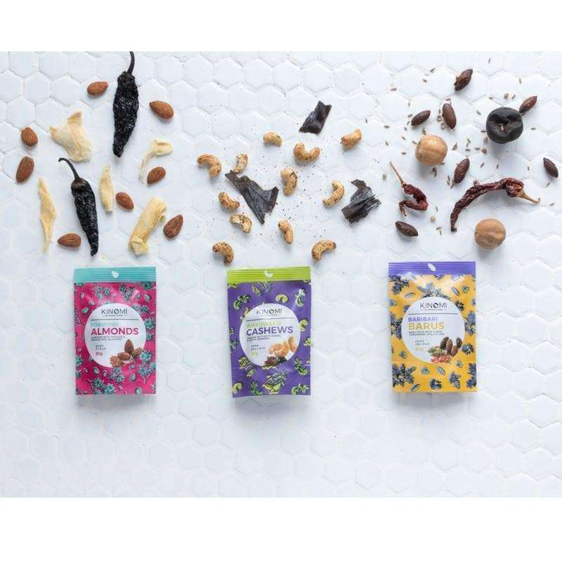 3 Flavour Mini Bag Sampler - Kinomi Nuts , Nuts (Snacks)  - Life By Equipe