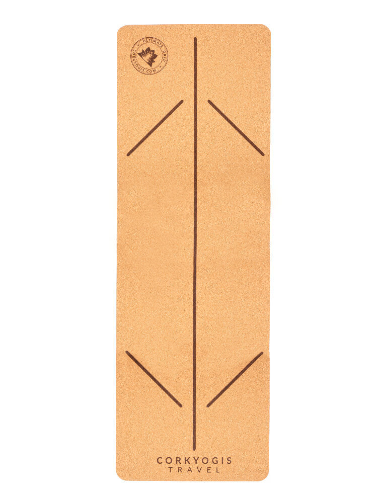 Travel Cork Yoga Mat with Alignment Lines - CorkYogis