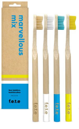 4 Plastic Free Bamboo Multicoloured Toothbrushes with Medium Softness Bristles by F.E.T.E