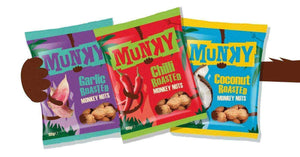 Munky Nuts (Snacks) Munky - Taster Pack Chilli, Garlic + Coconut Roasted Peanuts In Shells (Monkey Nuts)