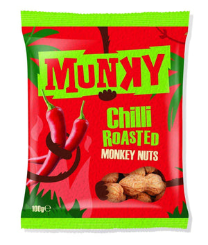Munky Nuts (Snacks) Single Packet Munky - Chilli Roasted Peanuts In Shells (Monkey Nuts)
