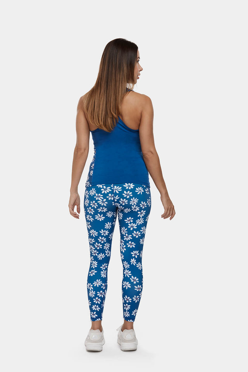 Daisy Print High Waisted Gym Leggings Perky Peach