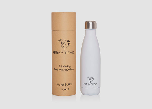 White Reusable Water Bottle Perky Peach