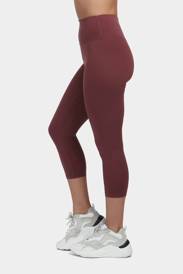 Move More Burgundy Capri Leggings by Perky Peach