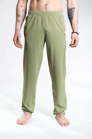 So We Flow Bottoms Jersey Longs - Men's Yoga Pants - Olive