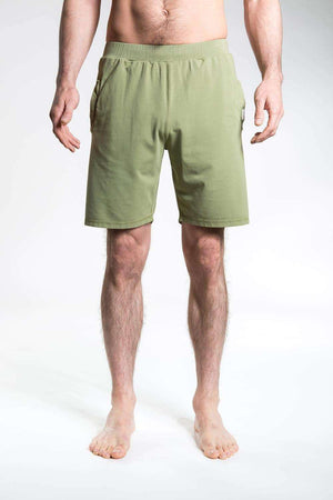 So We Flow Bottoms Jersey Shorts - Men's Yoga Shorts - Olive