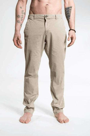 So We Flow Bottoms L / Beige - Stone Twill Longs - Men's Yoga Pants - Stone