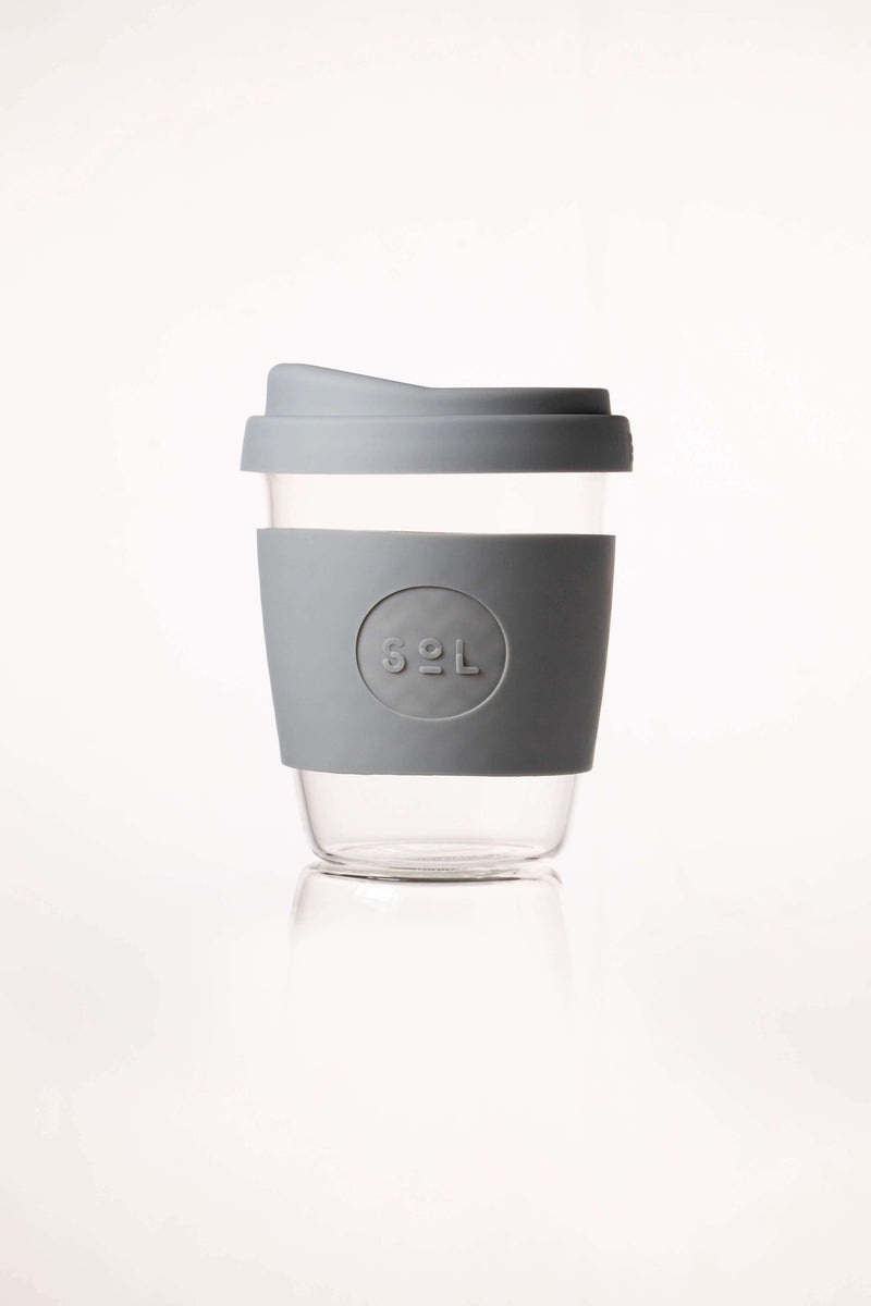 SoL Cups Glass Cup Cool Grey Reusable Glass Cups - SoL Cup 12oz