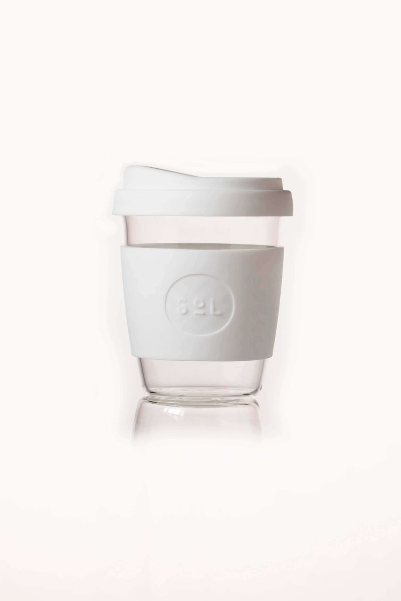SoL Cups Glass Cup White Wave Reusable Glass Cups - SoL Cup 12oz