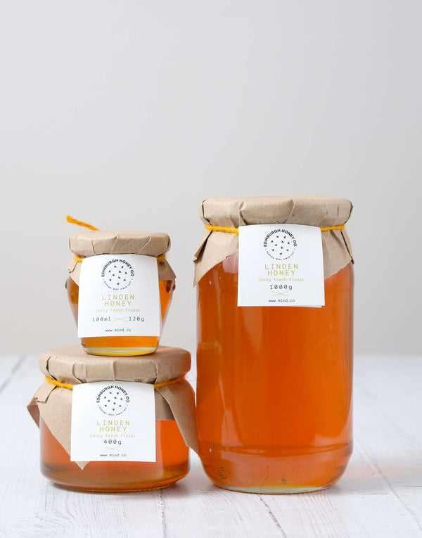 High quality, zesty, fresh and light Linden Honey. Great for Hot Toddys and to fight off winter colds by Edinburgh Honey Co.