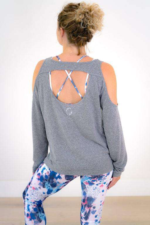 Yummy Yoga Girl Tops Grey Long Sleeve Cover Up Top