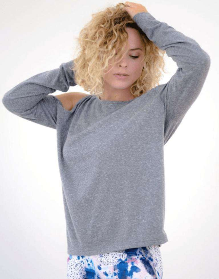 Yummy Yoga Girl Tops S/M / Grey Grey Long Sleeve Cover Up Top
