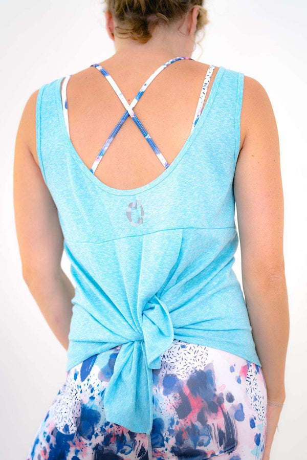 Yummy Yoga Girl Tops Turquoise Ella Tie Up Yoga Vest in Turquoise