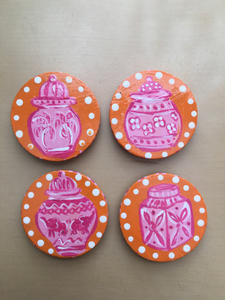 Ginger Jar magnets - Pink - Set of 4