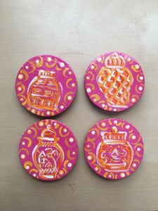 Ginger Jar magnets - Orange - set of 4