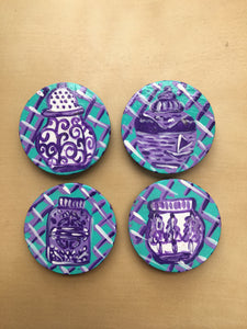 Ginger Jar magnets - Purple - Set of 4