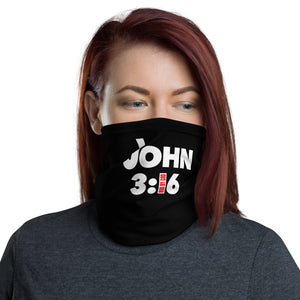 John 3:16 Black and Red Neck Gaiter