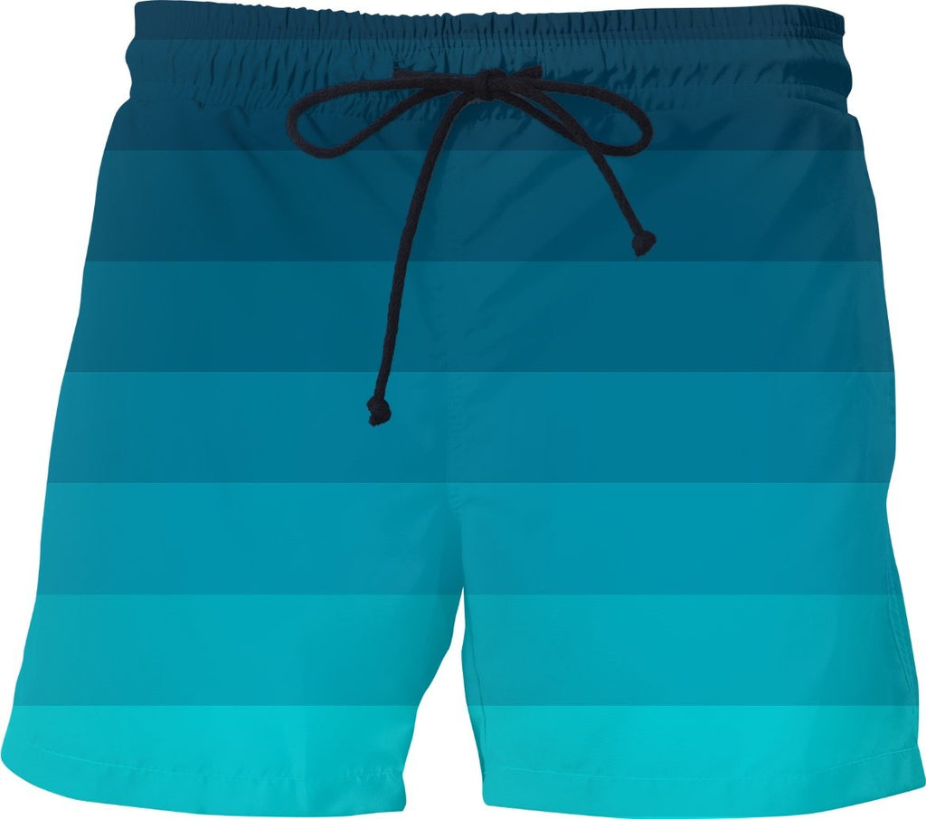 Teal Ombre Striped Swim Shorts