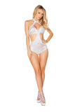 3420 - Roma Rave Criss-Cross White Romper with Zipper Closure