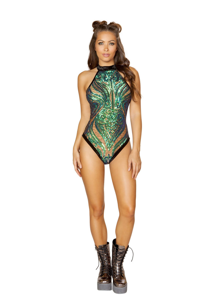 1pc Sheer Sequin Romper With Velvet Back - RaveSQUAD