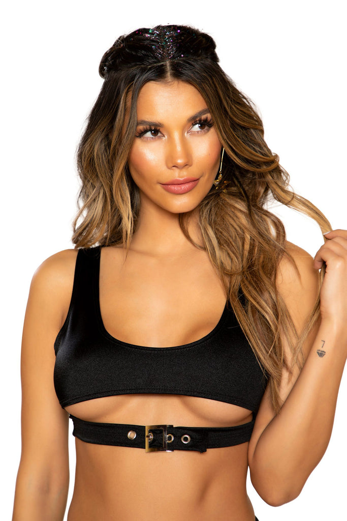 Crop Top With Underboob Detail And Buckle Closure - RaveSQUAD