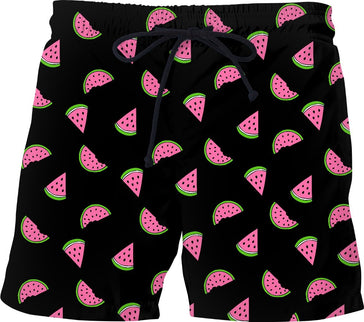 Watermelon Black Swim Shorts