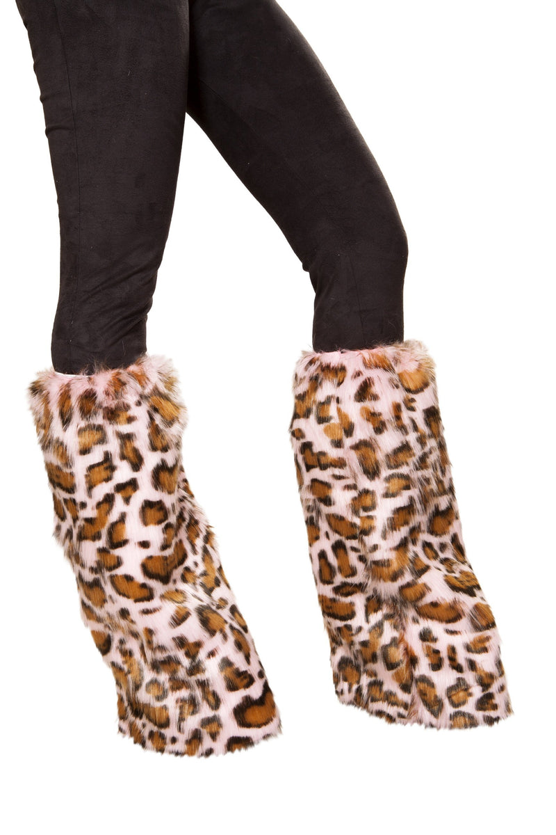 4889 - Pair of Pink Leopard Leg Warmers - RaveSQUAD