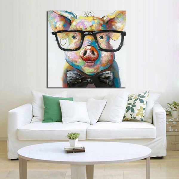 Pig Wearing Glasses Painting On Canvas Canvorama