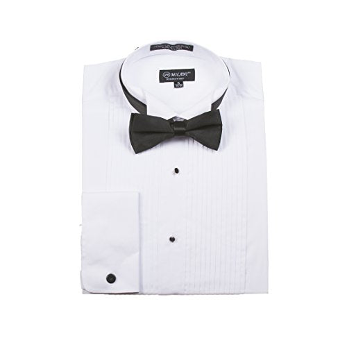 Milani Men's Tuxedo Shirts With French Cuffs And Bow Tie